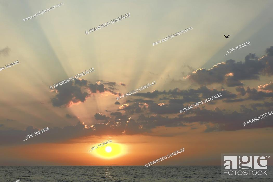 Stock Photo: Sunrise at Cabo Cervera in Torrevieja, Alicante province in Spain. Horizontal shot with space for text.