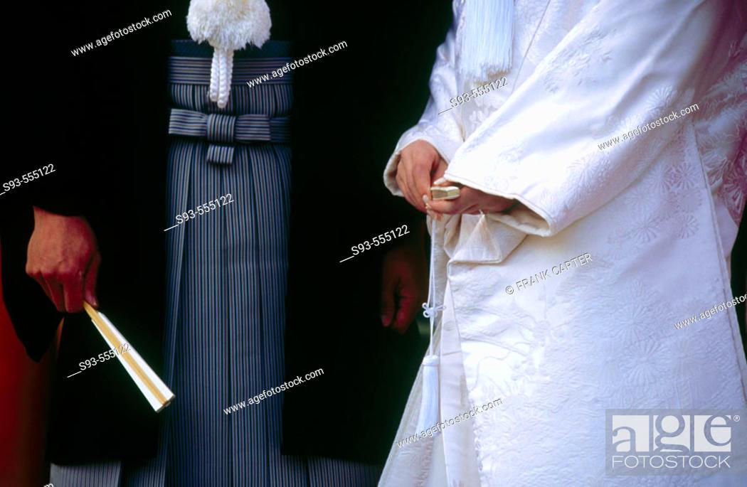 Stock Photo: Japanese couple in traditional wedding kimono at Heian Jingu. Kyoto city. Kyoto. Japan.