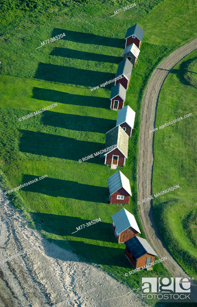 Stock Photo: Fishing huts, Öland. Sweden.