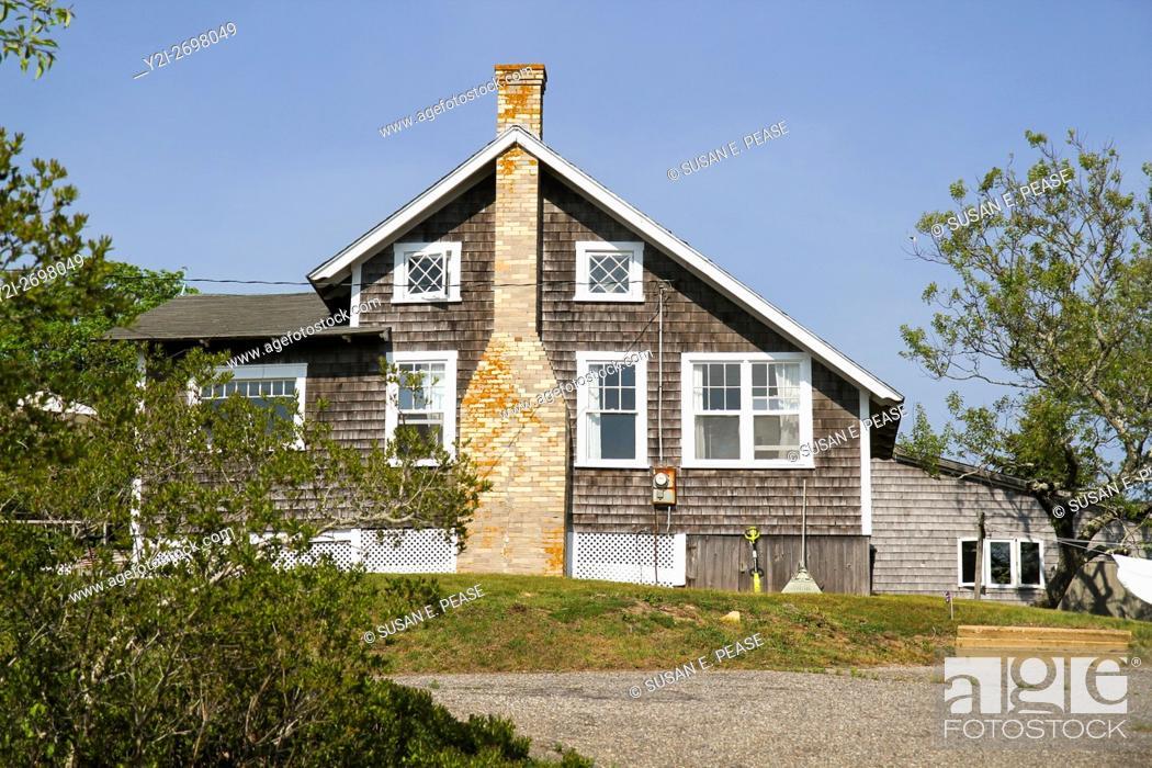 Stock Photo: A home in Menemsha, Chilmark, Martha's Vineyard, Massachusetts, United States, North America. Editorial use only.