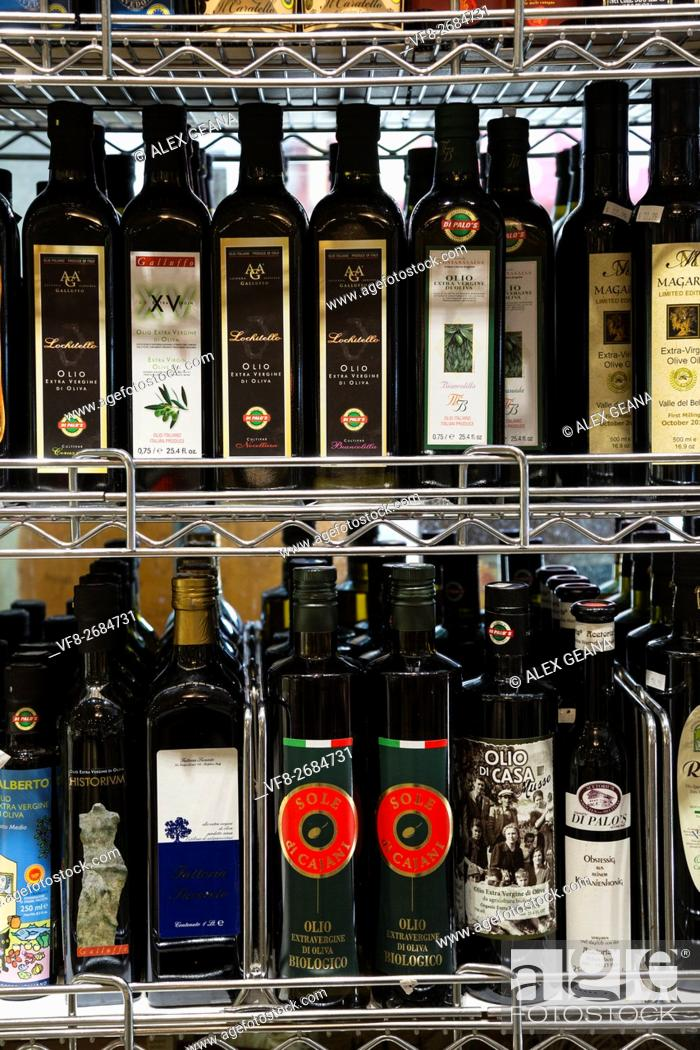 Stock Photo: Luxury and high-end imported olive oil on a store shefl in New York's Little Italy at Di Palo's deli.