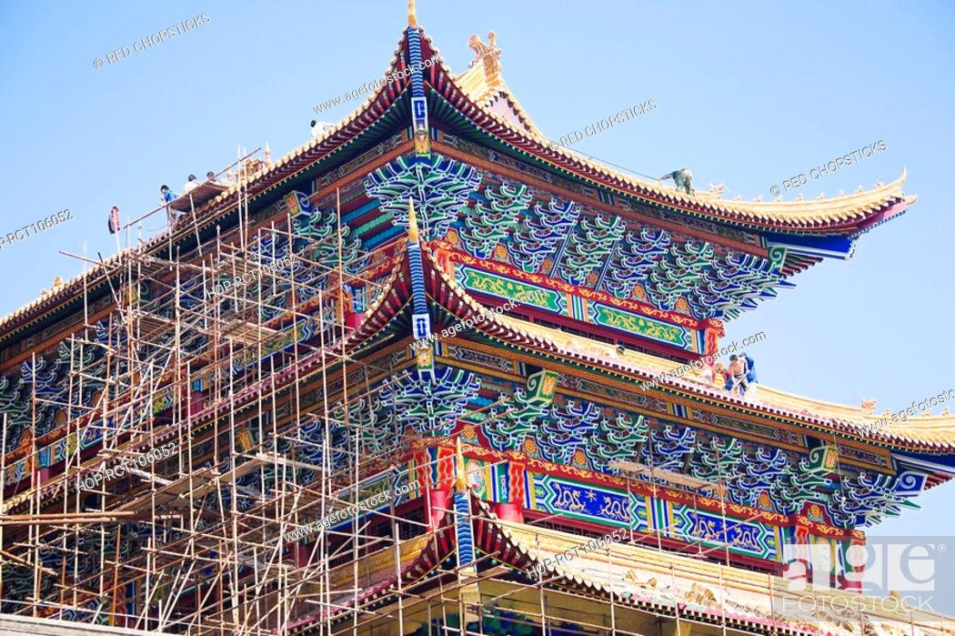 Stock Photo: Low angle view of a building under repair, HohHot, Inner Mongolia, China.