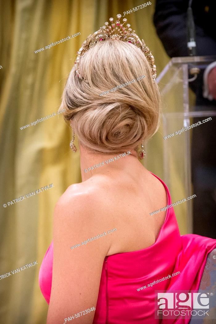 Queen Maxima of The Netherlands attend an state banquet ...