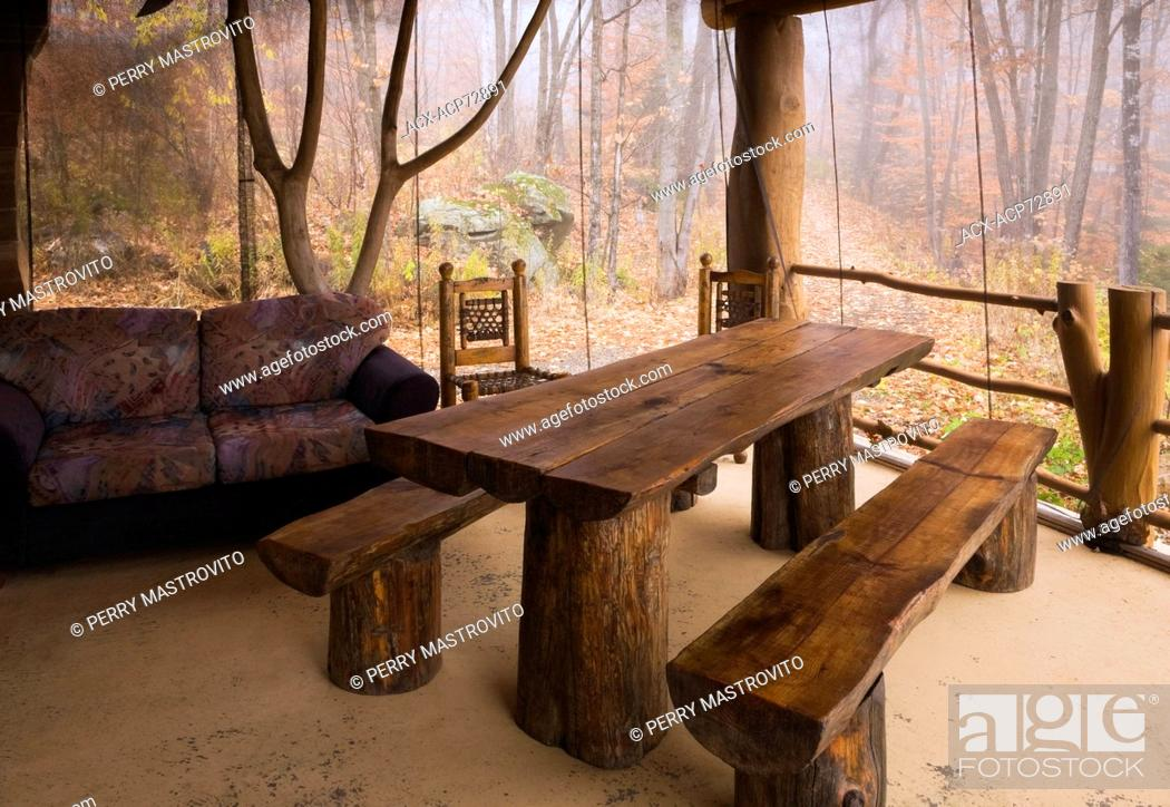 Fine Wooden Dining Table With Benches In Autumn On The Elevated Ibusinesslaw Wood Chair Design Ideas Ibusinesslaworg