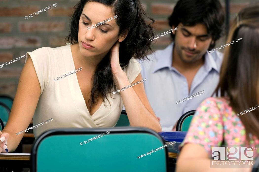 Stock Photo: University students in a classroom.