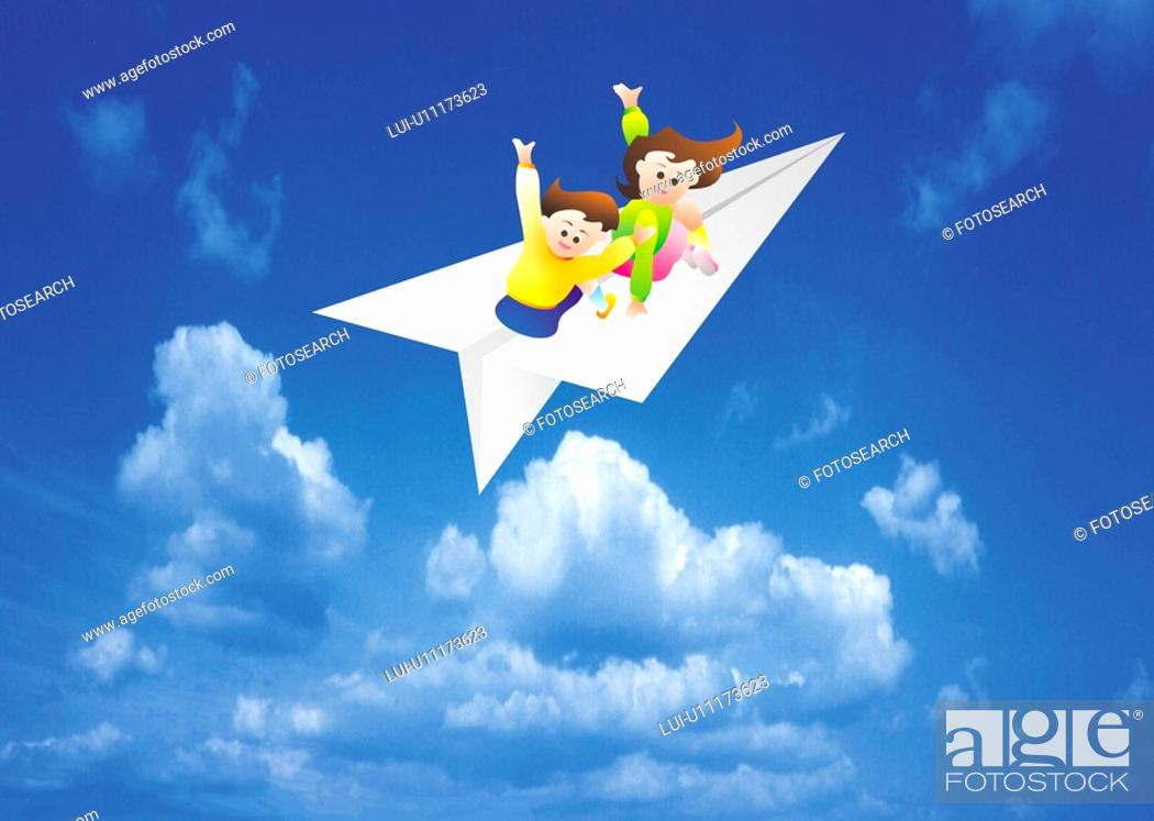 Stock Photo: Children On Paper Airplane.