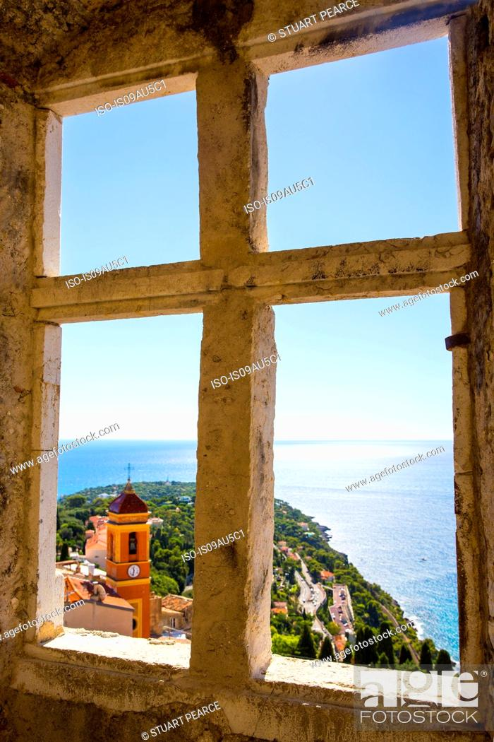 Stock Photo: Window view of coast from Castle of Roquebrune, Roquebrune, France.