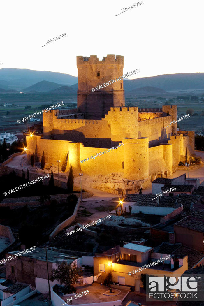 Stock Photo: Arabic period castle, XIIth century. Villena. Alicante province. Comunitat Valenciana. Spain.