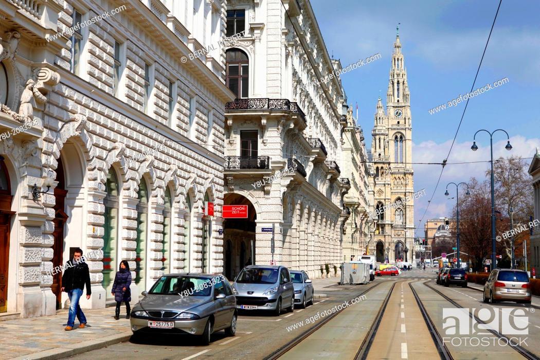Stock Photo: Vienna city hall tower.