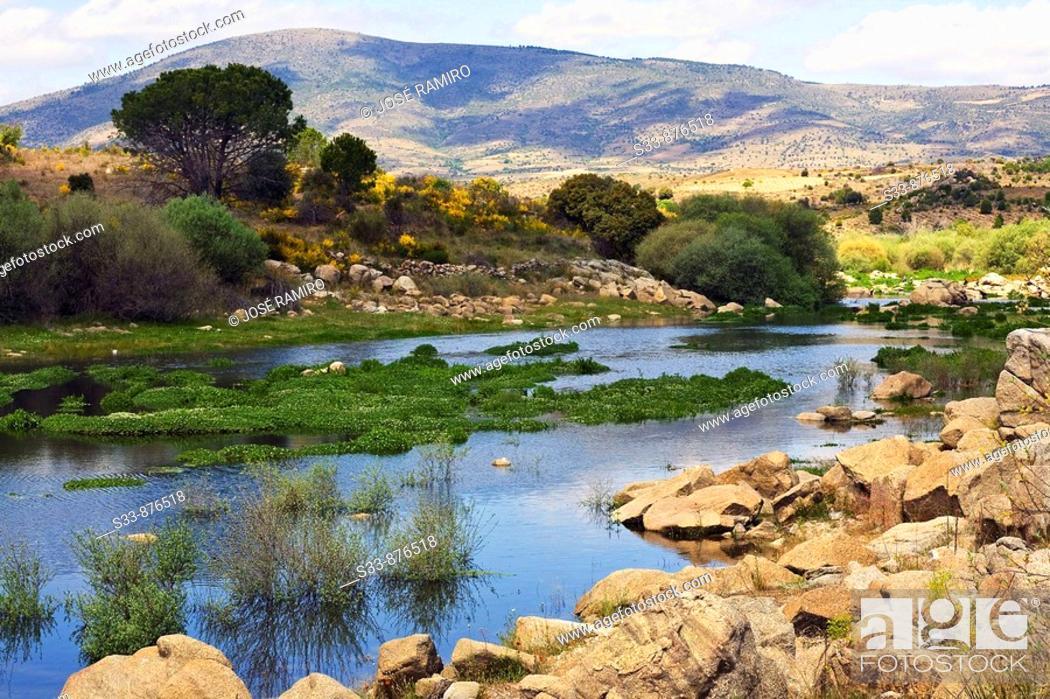 Stock Photo: Rio Alberche y cerro Merino. Cebreros. Castile-Leon. Spain.