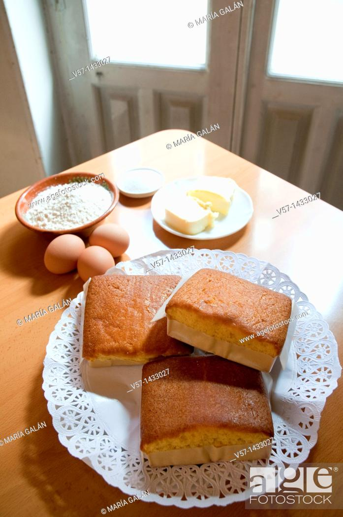 Stock Photo: Sobaos pasiegos and ingredients. Cantabria, Spain.