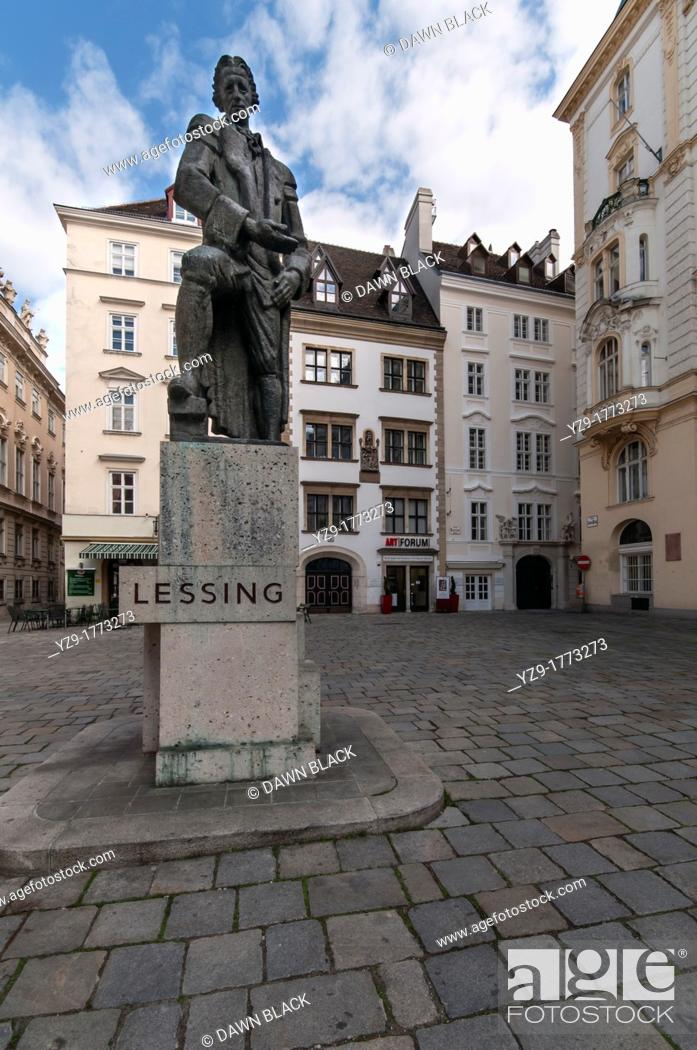 Stock Photo: Ephraim Lessing Statue, German playwright and critic by Seigfried Charoux  The original was destoyed by the Nazis in 1939 who did not like a tribute to a writer.