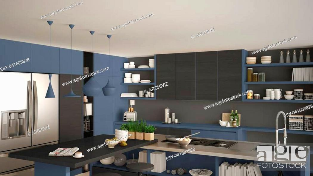 Stock Photo: Modern wooden kitchen with wooden details, close up, island and gas stove with cooking pan, gray and blue minimalistic interior design.