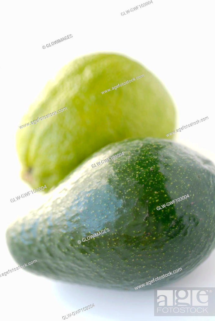 Stock Photo: Close-up of a pear and a guava.