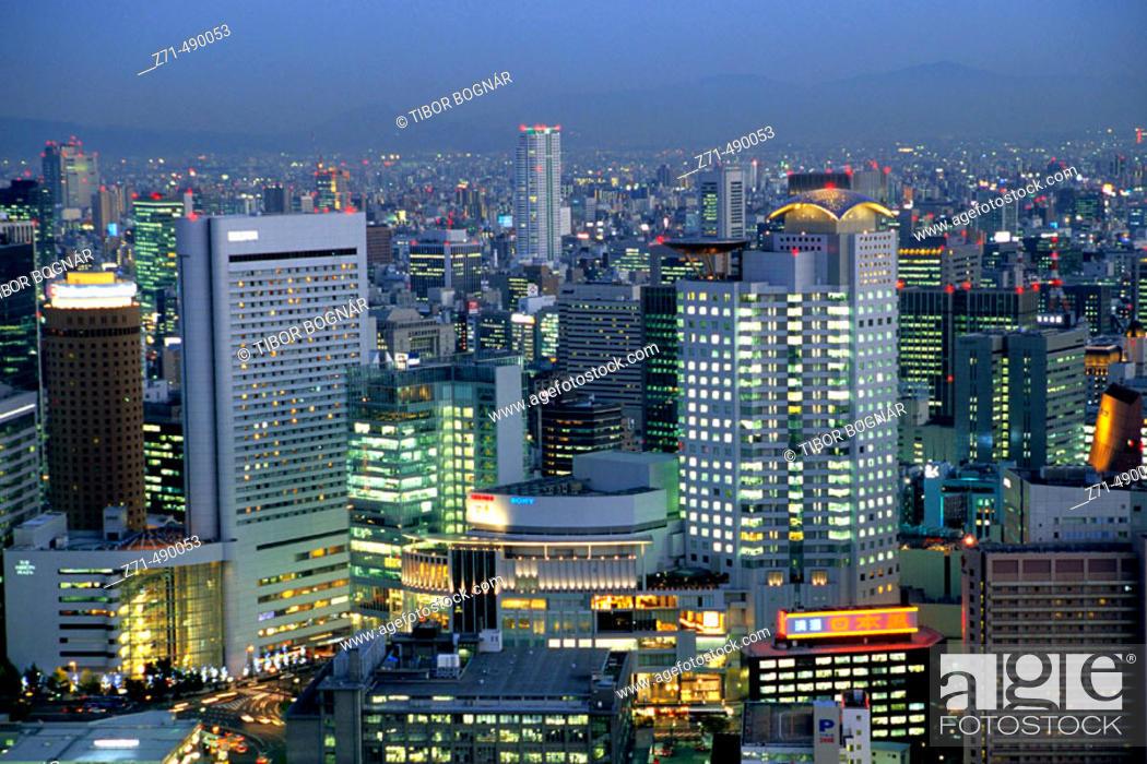 Stock Photo: Skyline of Kita business and shopping district, Osaka. Japan.