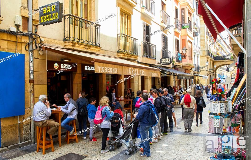 Stock Photo: Bar Taberna Aralar, Calle Puerto, Parte Vieja, Old Town, Donostia, San Sebastian, Gipuzkoa, Basque Country, Spain.