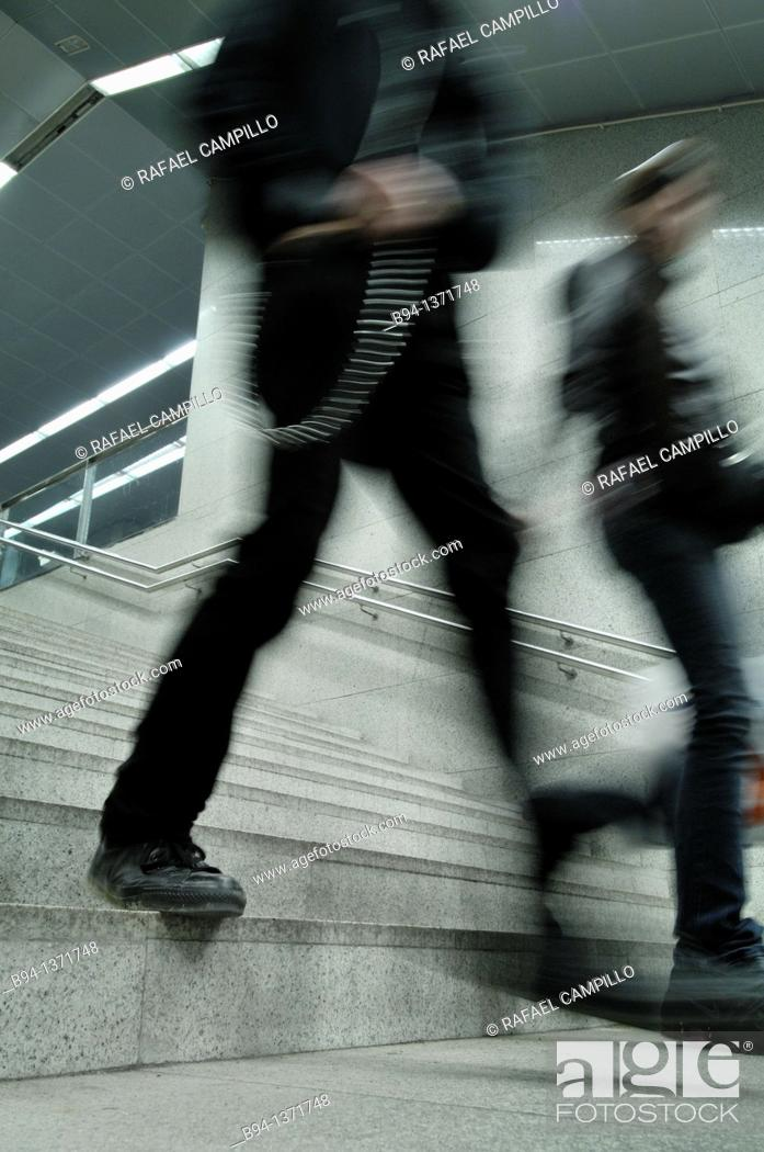 Stock Photo: People down stairs in subway station, Barcelona, Catalonia, Spain.