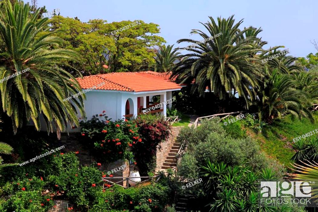 Beautiful White House With Red Tile Roof Small Terrace And Steps In The Mediterranean Stock Photo Picture And Low Budget Royalty Free Image Pic Esy 040213227 Agefotostock