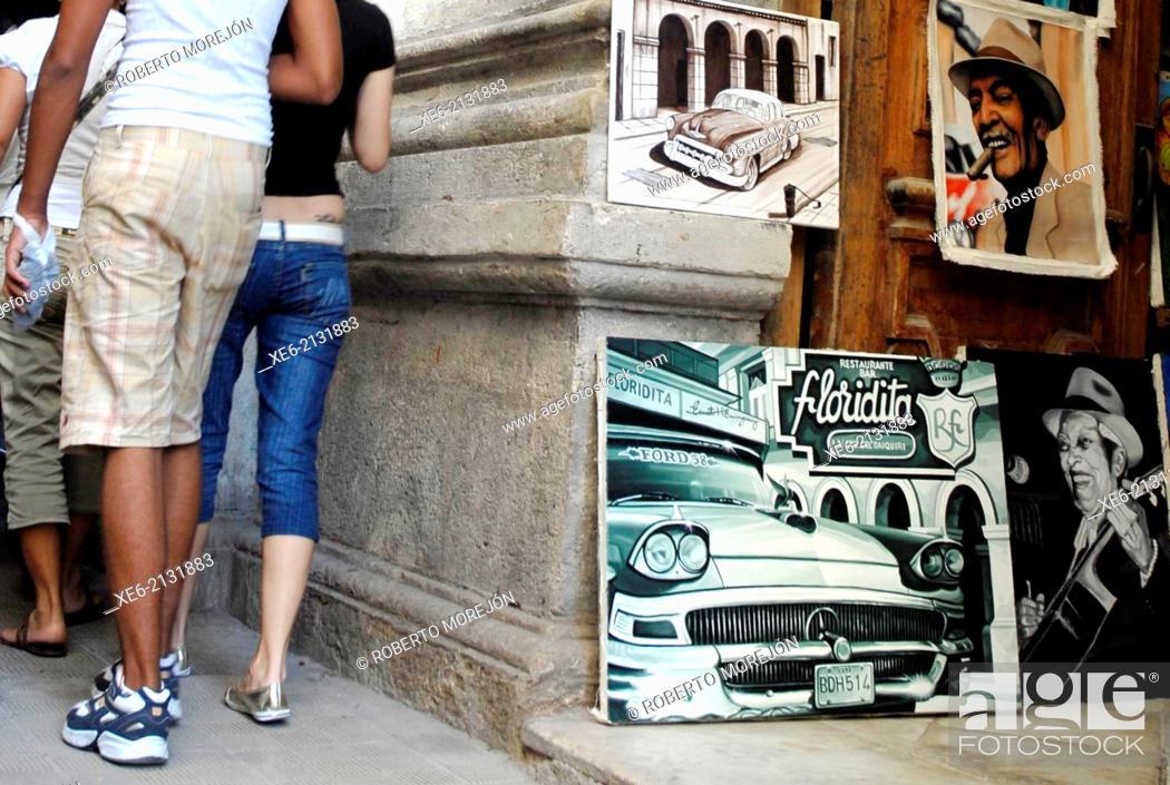 Stock Photo: Cuban paints, old car, Compay Segundo, Buena Vista Social Club, tobacco, oil painting.