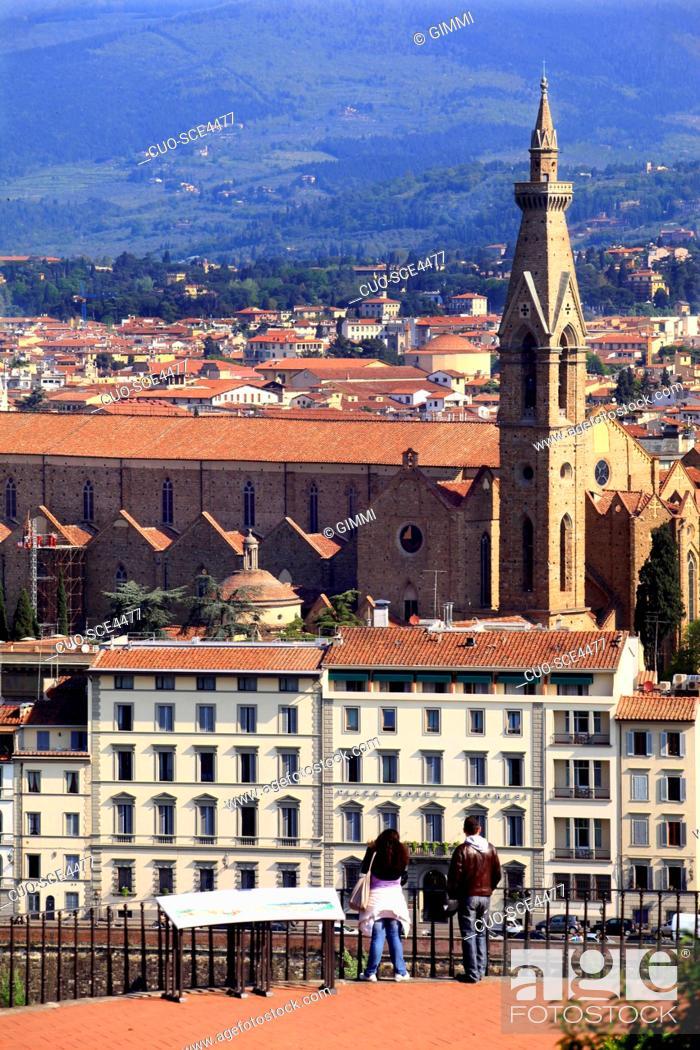 Stock Photo: Santa Croce church, Florence, Tuscany, Italy, Europe, UNESCO World Heritage Site.