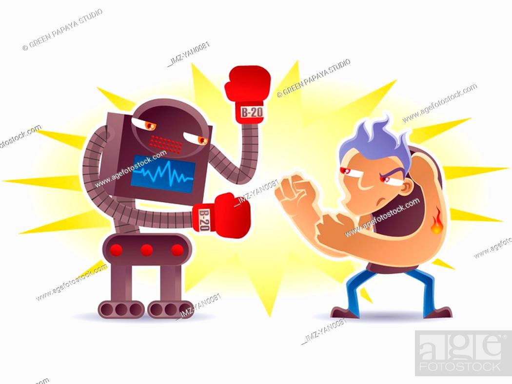 Stock Photo: An illustration of a man boxing with a robot.