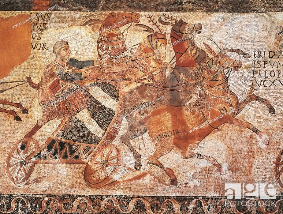 Stock Photo: Hispanic-roman art - 3rd century a.D. Carriage race. Mosaic-work.  Madrid, Museo Arqueológico Nacional.