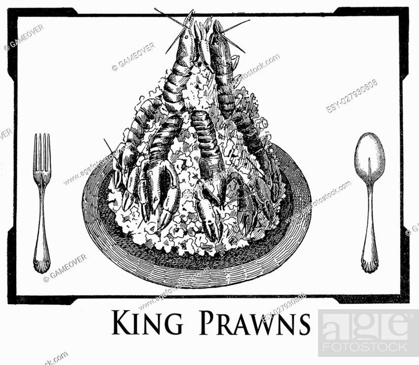 Vintage Cuisine Illustration Collage Art Deco Frame With King