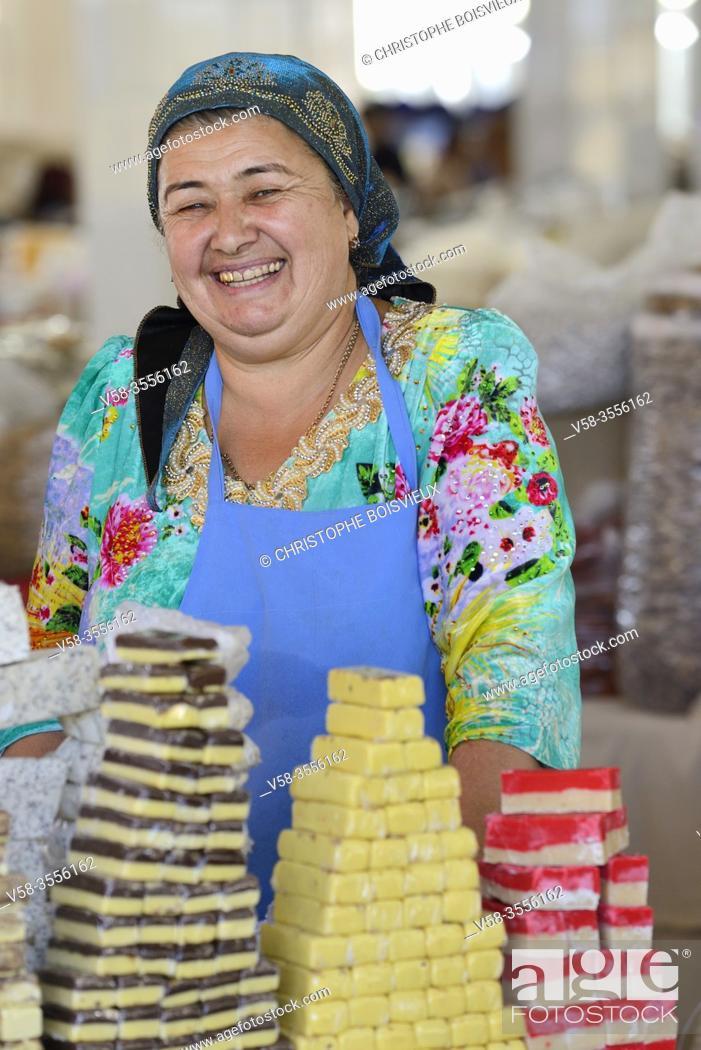 Stock Photo: Uzbekistan, Unesco World Heritage Site, Samarkand, Siab Bazaar, Sweets market.