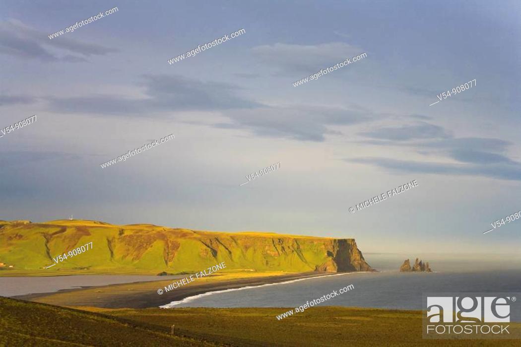 Stock Photo: Black Sand Beach, Dyrholaey, South Coast, Iceland.
