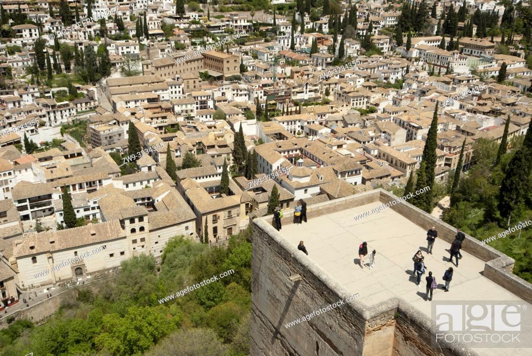 Stock Photo: View of the Albaicin quarter and city o Granada from La Alhambra, Unesco World Heritage Site, province of Granada, Spain, Europe.