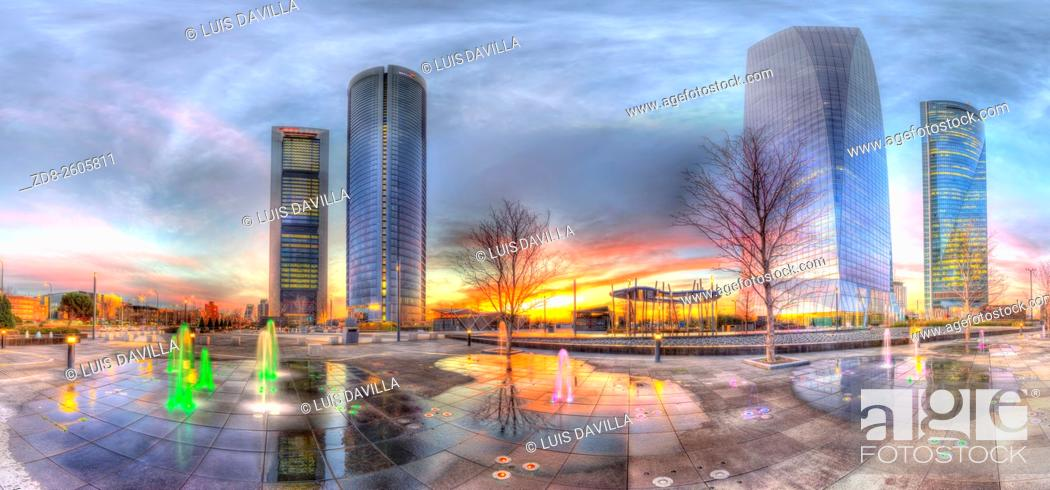 """Stock Photo: Cuatro Torres Business Area (CTBA), Spanish for """"""""Four Towers Business Area"""""""", is a business district located in the Paseo de la Castellana in Madrid, Spain."""