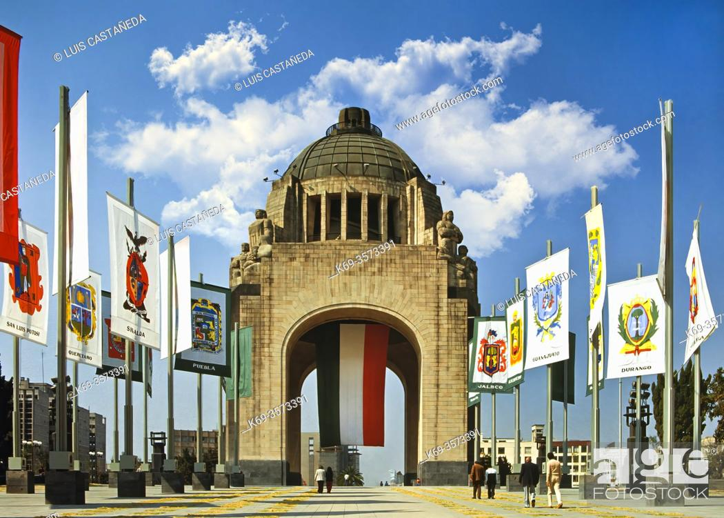 Stock Photo: This art-deco monument dedicated to the Mexican Revolution, is in the Plaza de la República, where the Museo Nacional de la Revolución is also located.