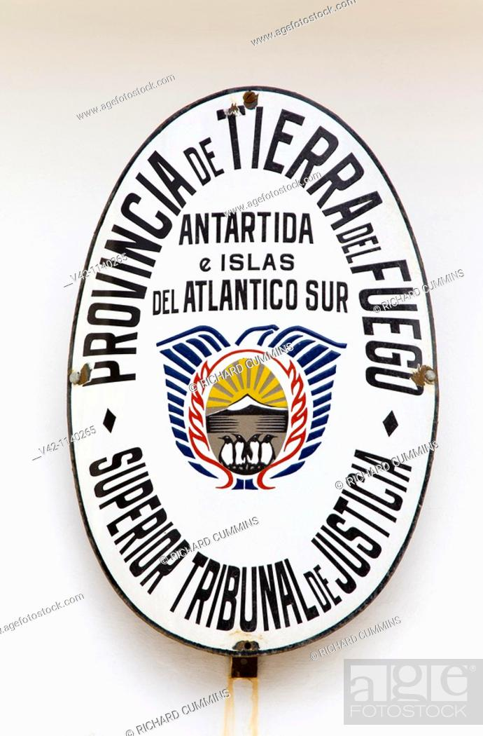 Court Sign In Ushuaia Tierra Del Fuego Patagonia Argentina Stock