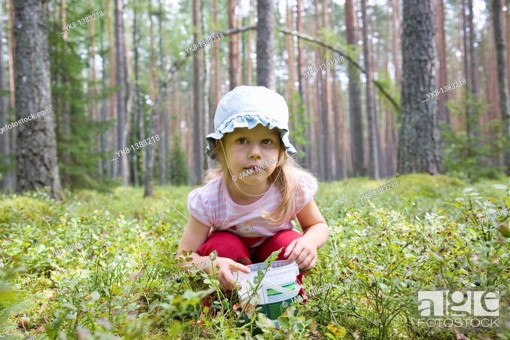 Stock Photo: Three Year Old Berry-Picker Girl in Forest.
