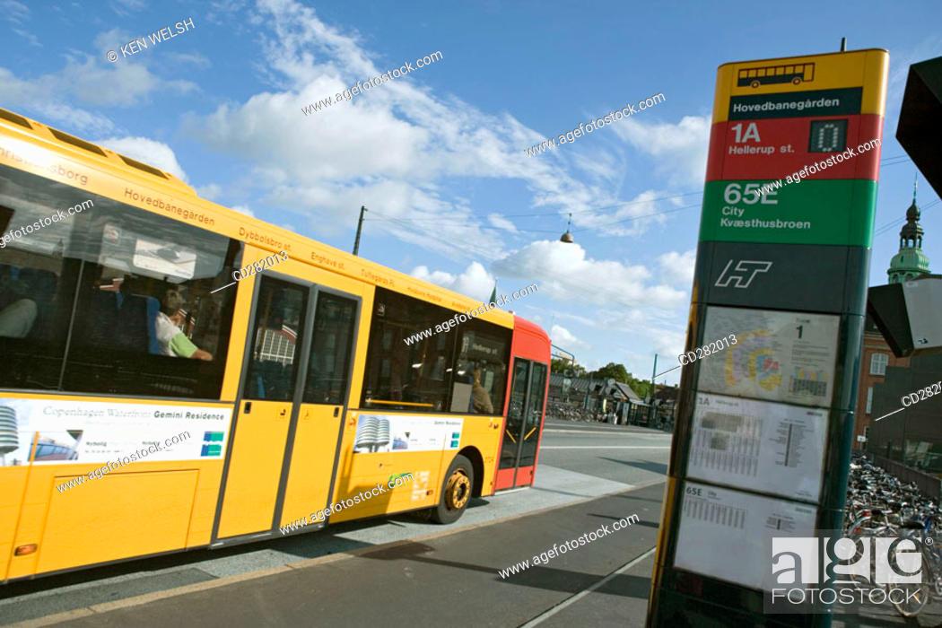 Stock Photo: Bus stop in Tietgensgade, Copenhagen, Denmark.