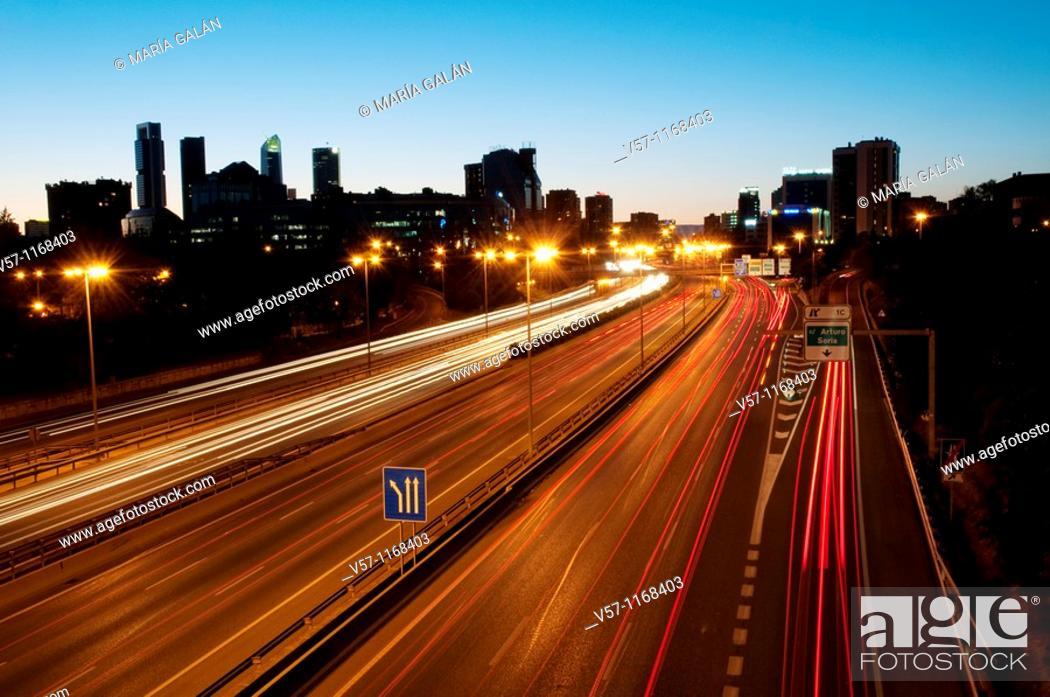 Stock Photo: M-30 motorway, night view. Madrid, Spain.