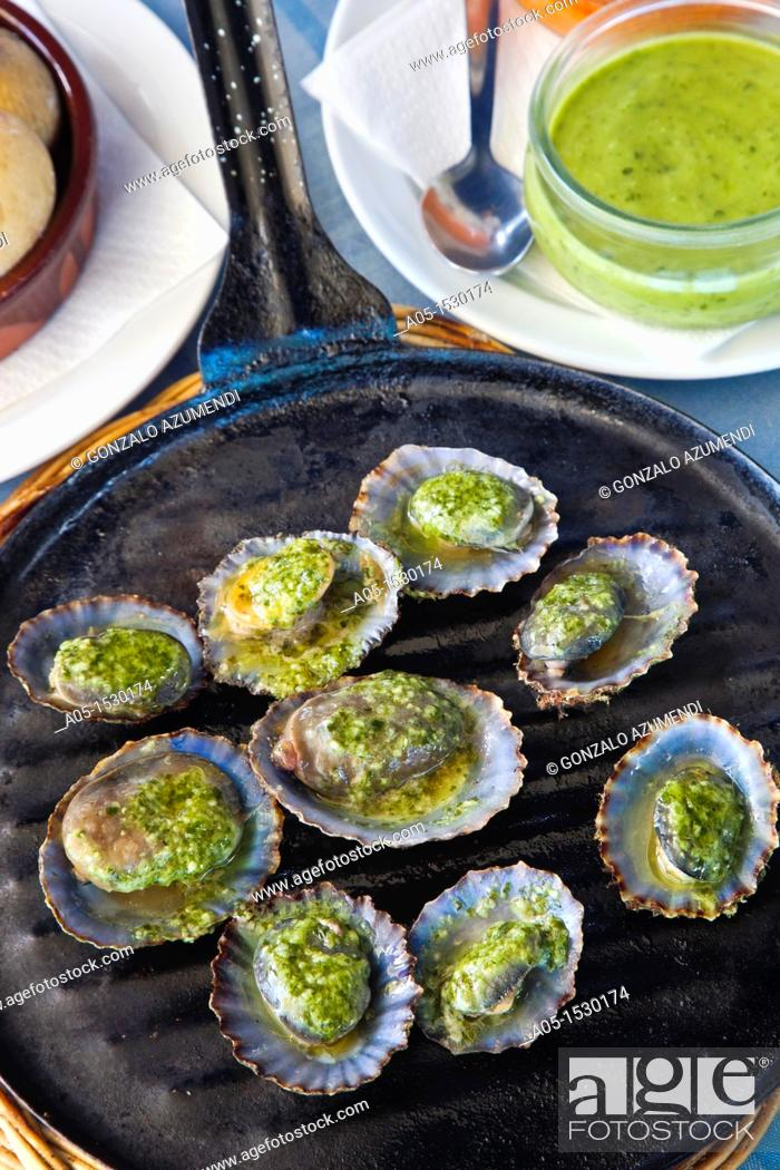 Stock Photo: Limpets with green mojo, typical gastronomy, Lanzarote, Canary Islands, Spain.
