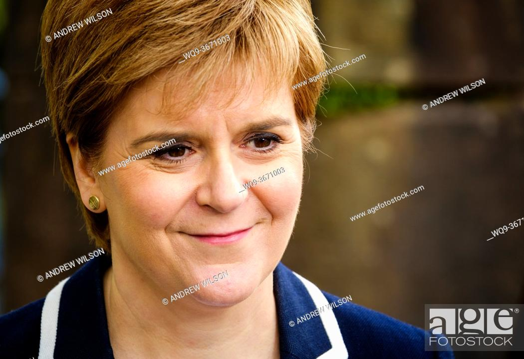 Stock Photo: Portrait of Nicola Sturgeon, MSP First Minister of Scotland and leader of the Scottish National Party.