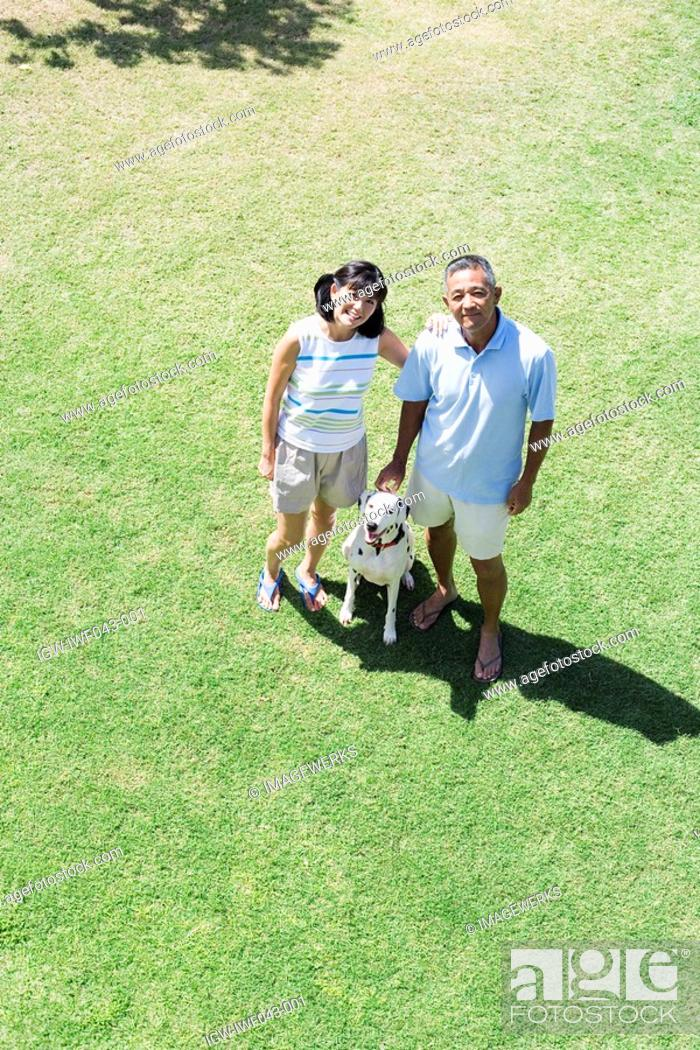 Stock Photo: Elevated view of a couple standing with dog.