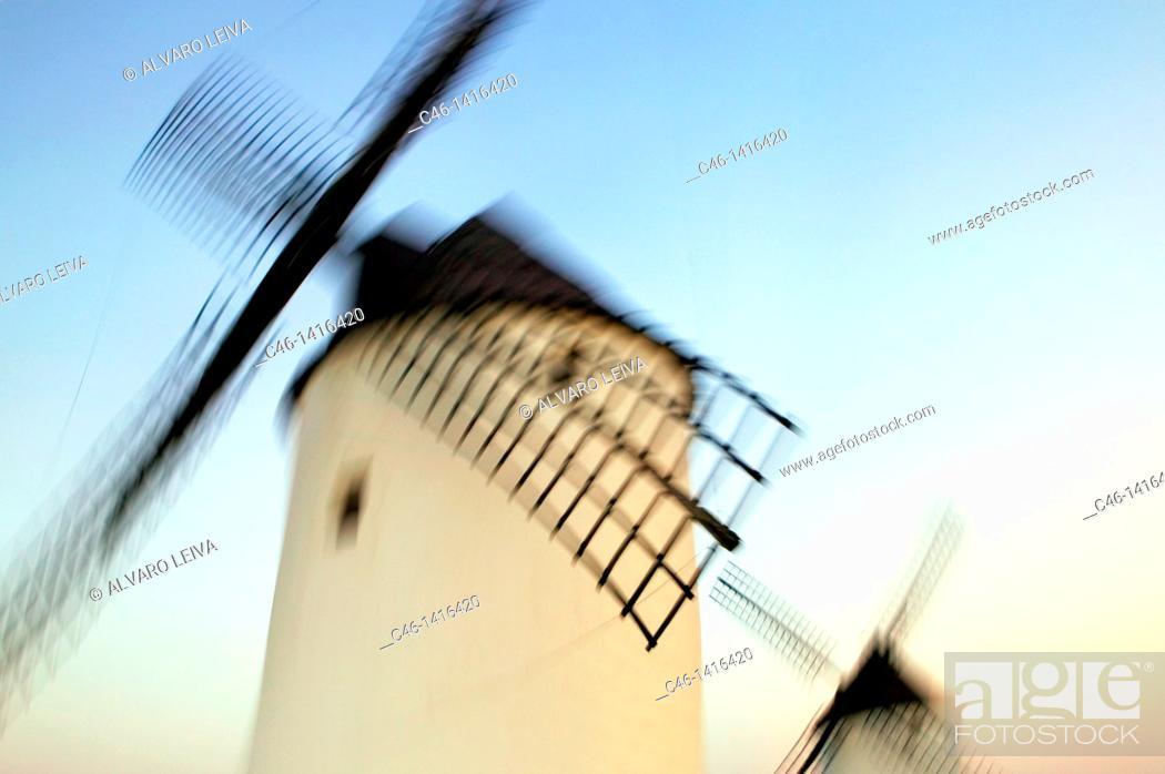 Stock Photo: Windmills  Mota del Cuervo  Cuenca province  The Route of Don Quixote  Castilla-La Mancha  Spain.