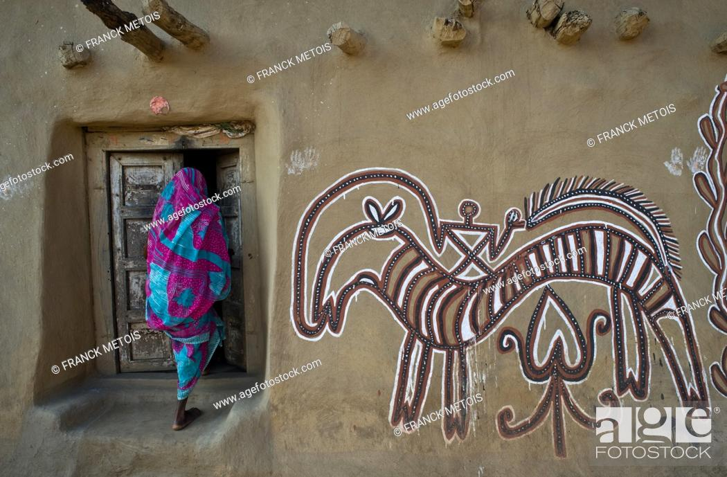 Stock Photo: Sohrai art ( Hazaribagh district, Jharkhand, India). The Sohrai art is a art form practised by the rural low caste and tribal women in the Hazaribagh district.