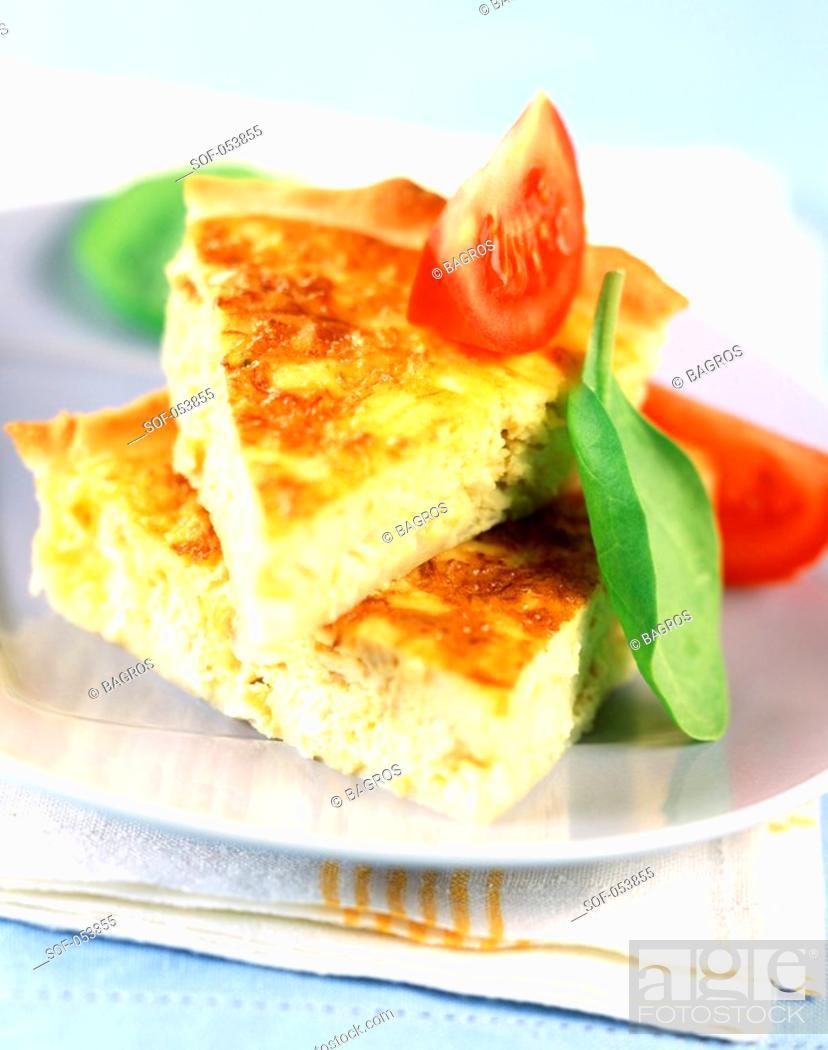 Stock Photo: slice of quiche.