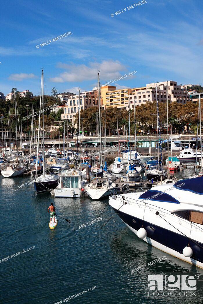 Stock Photo: Mooring Sailboats at the Yachting Marina of Funchal, Madeira, Portugal, Europe.