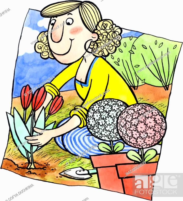 Stock Photo: A woman gardening.