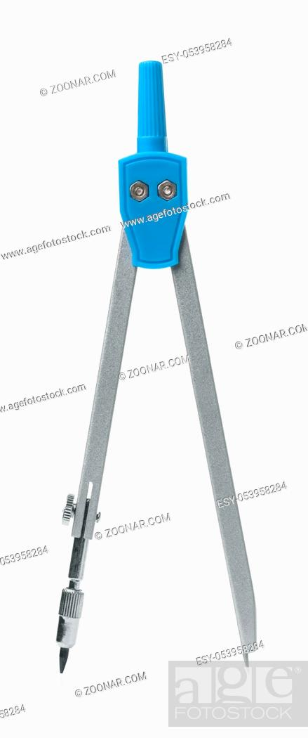 Stock Photo: Front view of drawing compass isolated on white.