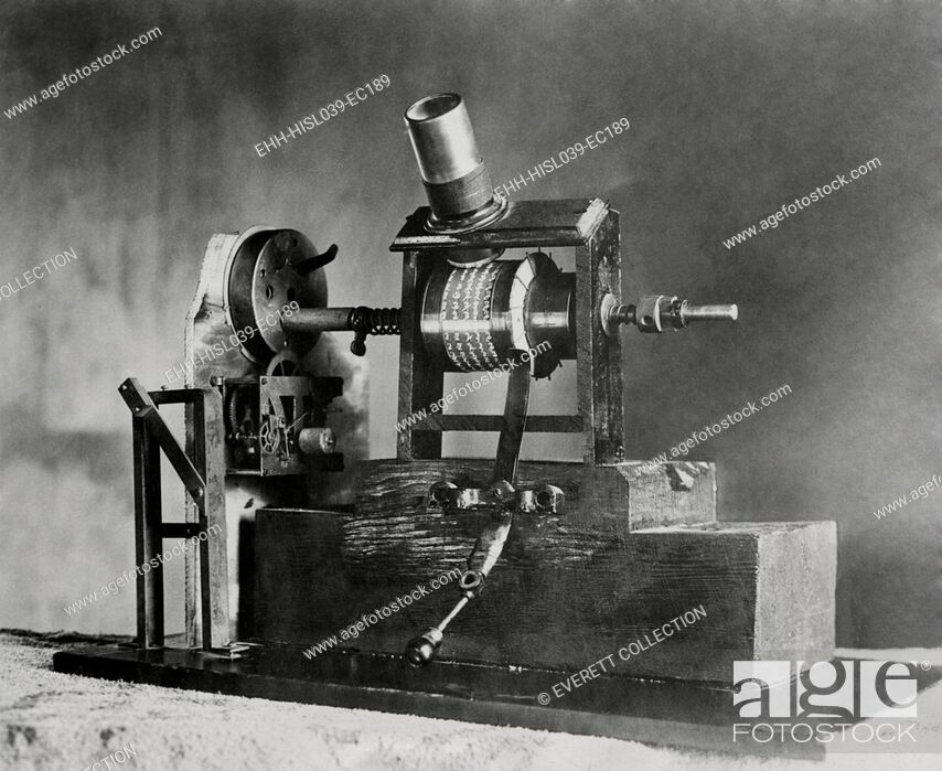 Stock Photo: Edison's First Movie Machine, the Kinetoscope, was a 'Talkie'. In 1886 the clockwork turned one shaft causing the small pictures to seem to move when viewed.