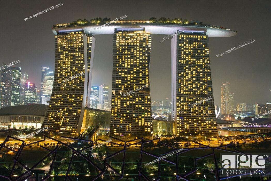 Stock Photo: Marina Bay Sands hotel at night, Singapore.