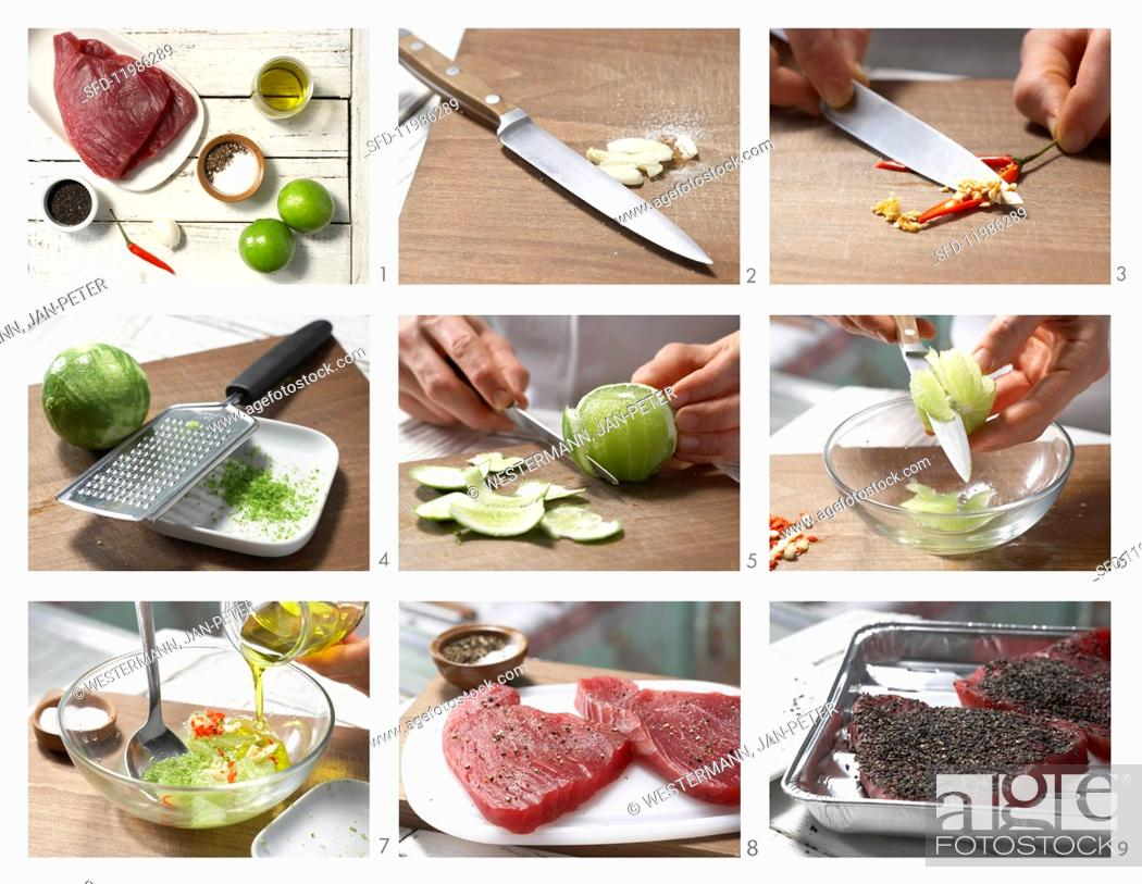 Stock Photo: How to prepare tuna with a nigella crust and lime wedges.