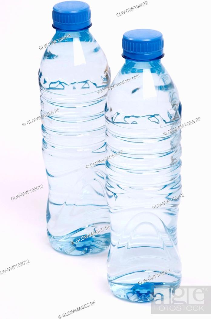 Stock Photo: Close-up of two water bottles.