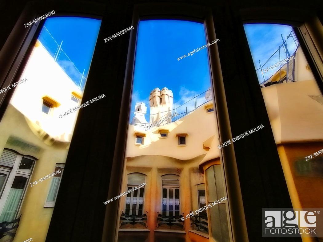Stock Photo: La Pedrera (Casa Mila), Gaudi architecture, Barcelona, Catalonia, Spain, Europe.